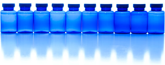 Line of blue bottles